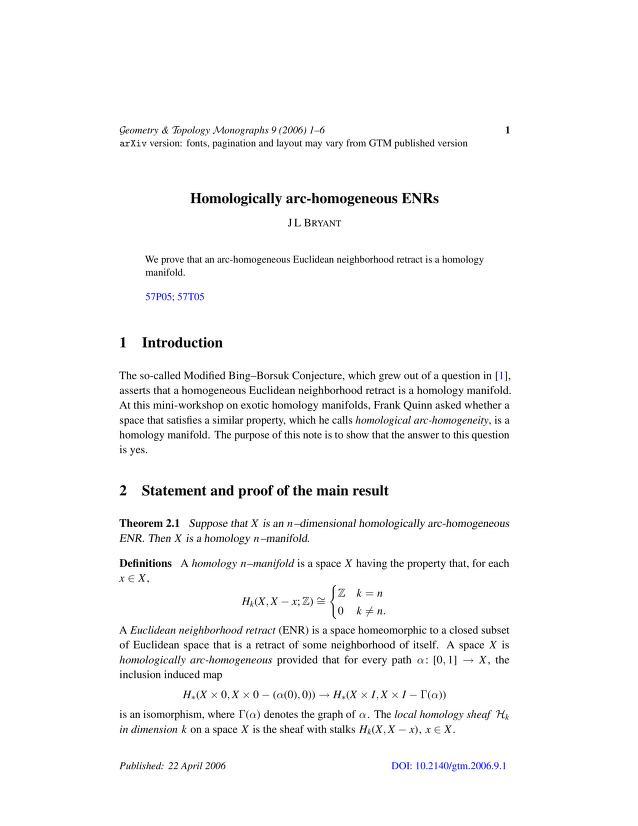 J L Bryant - Homologically arc-homogeneous ENRs