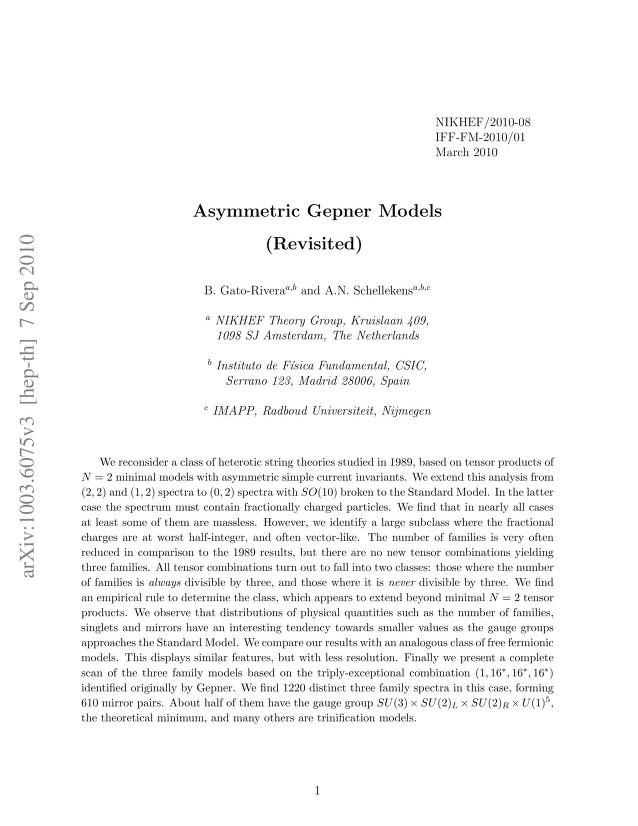 B. Gato-Rivera - Asymmetric Gepner Models (Revisited)