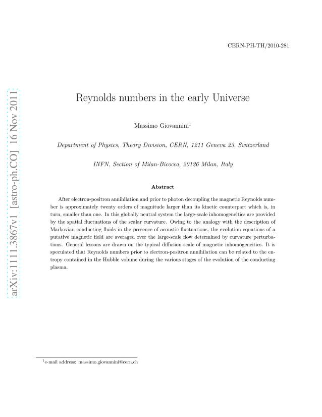 Massimo Giovannini - Reynolds numbers in the early Universe